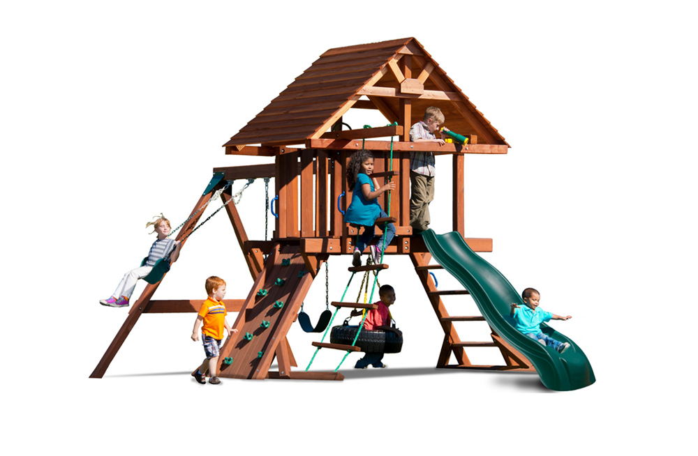 The Two Ring Deluxe features the classic belt swing along with a swiveling tire swing and a trapeze bar with gymnastic rings.