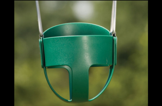 The toddler swing can be switched out with belt swing seats as your child matures.