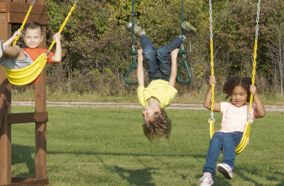 The 3-position swing beam gives children the option to swing high in the sky on one of the two belt swings or twist and turn like a true gymnast on the trapeze bar with rings.