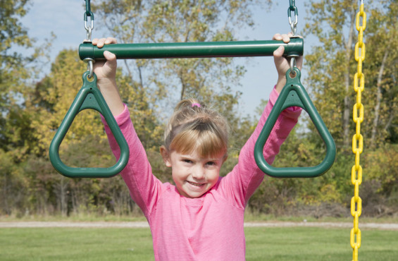 The included trapeze bar with rings will bring out the inner gymnast in children of all ages.