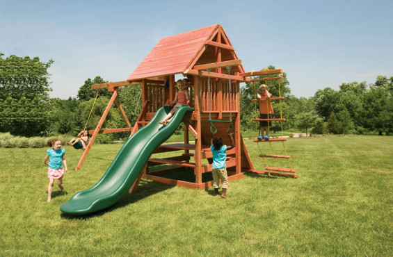Opening Star is perfect for smaller yards while not compromising play potential. With a slide, swings, rockwall & more, kids have plenty of accessories for hours of play.
