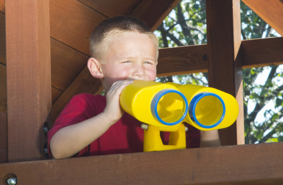 Binoculars let children get a new perspective on their backyard adventure.