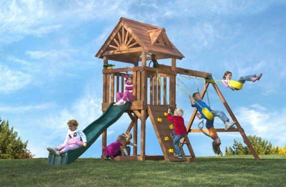 The High Flyer Deluxe playset has a little bit of everything... Children can exercise their creative minds in the sandbox or choose the adventure provided by the rockwall, slide or assortment of swings.