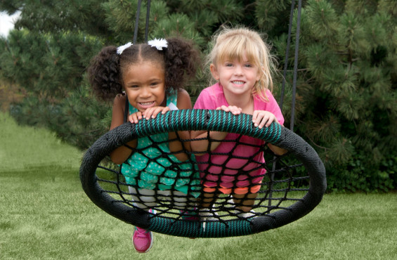 Monster web swing can fit two children.