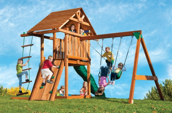 The Circus swing set is highlighted by the beautiful and ultra-resilient 100% California redwood. When it comes to providing children with a safe and sturdy play structure, redwood is truly the best choice.
