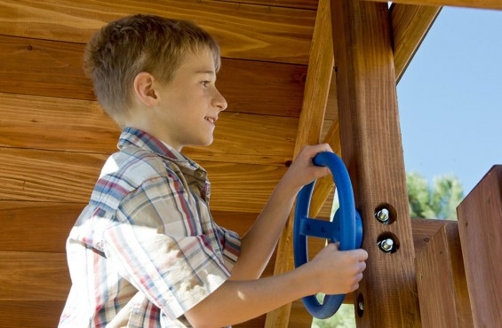 The steering wheel is just another part of the imaginative journey on the Two Ring swing set. Just sit and watch what your children's creative minds come up with!