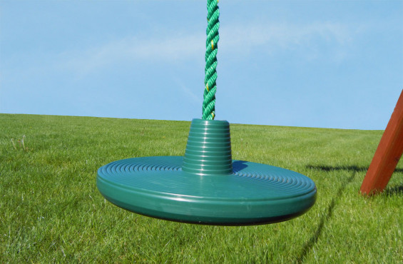 The disc swing is able to swing 360 degrees adding variety to your traditional swing set.
