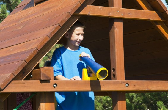 Telescope allows children to keep a close eye on their friends.
