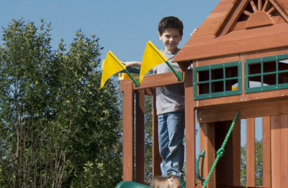 With the yellow flags in view, it's time to race to the bottom of the slide.