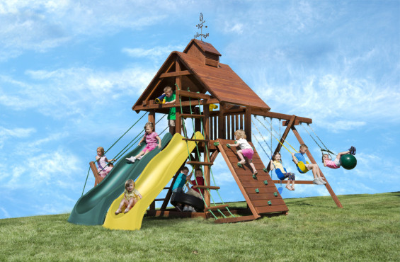 The Windjammer swing set features plenty of adventure & backyard curb appeal.