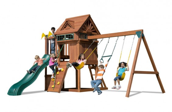 Children can let their imagination wander inside one of the two play decks. Play Deck height: 4' and 5'.