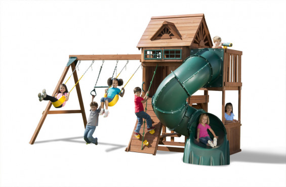 The design of this playground set will set a whole new standard of backyard fun. Including two swings, trapeze bar, rock wall, spiral slide and much more!