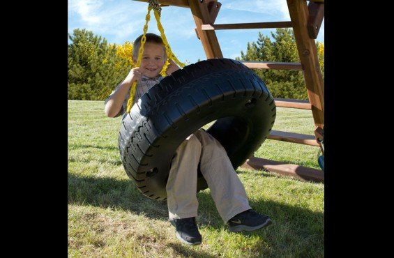 The ultra playful tire swing features 360 degrees of swiveling action for multiple children to enjoy.