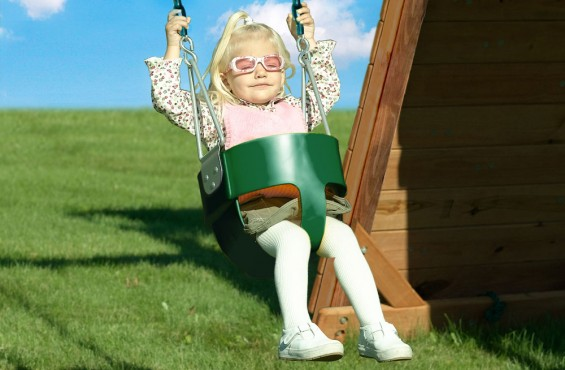 The toddler bucket swing has a high back for support and plastisol coated chains for a no-pinch grip.