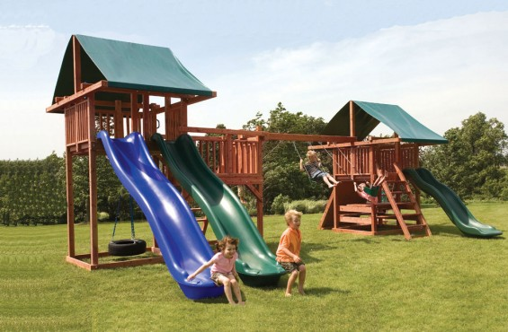 The Midway play set has 3 slides, 3 swings, a rockwall, monkey bars & more. With all these play accessories, kids will be entertained for hours!
