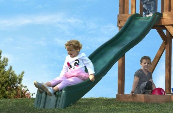 The 8 ft. wave slide will prove to be children's favorite way to the bottom.