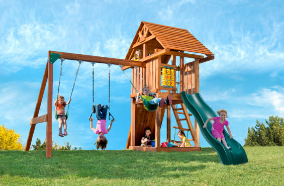 Who needs a school playground when you can have a swing set like this right in your backyard? Includes two swings, trapeze bar, sandbox, slide, wooden roof and much more!
