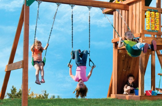 The greatest memories of childhood start on a swing and that is why we added two swings and a trapeze bar with gymnastic rings.