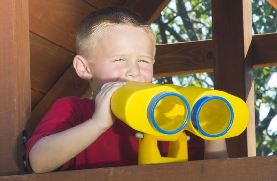 Our binocular play set accessory can be installed on most swing sets and is covered by our 3 year warranty.