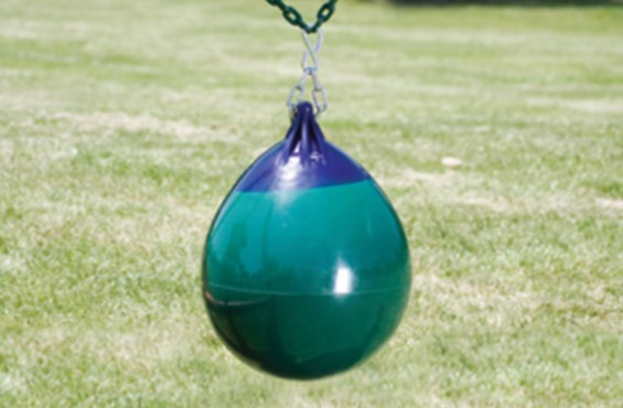 The buoy ball can be inflated to different sizes and swing left, right, and even spin, making this a fun addition to a backyard swing set.