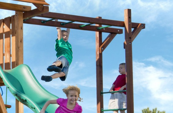 Standing at more than 8'ft tall, monkey bars provide children with an action-packed journey to the other side. They also help build children's strength, agility and hand-eye coordination.