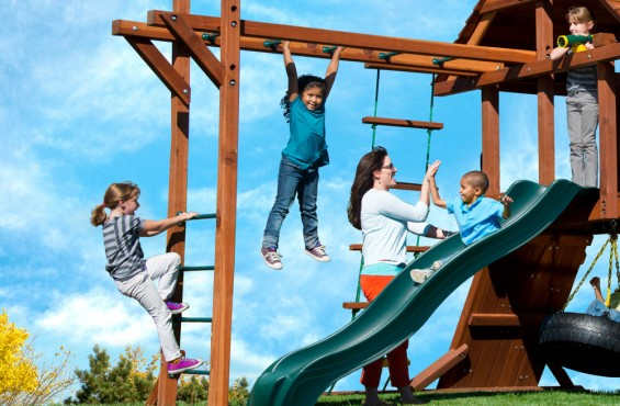 Monkey bars allow children to show off their strength and agility to their friends.