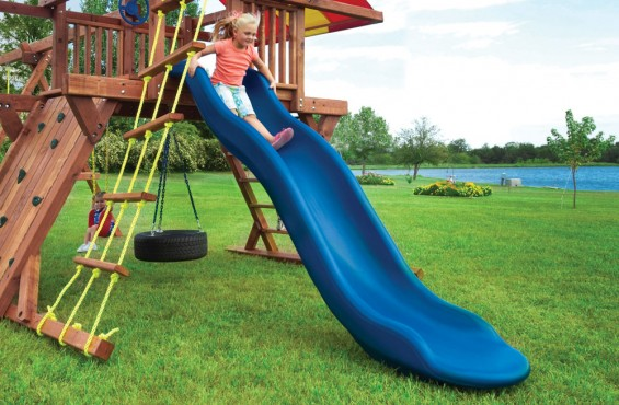 Our slide is 10' long & made from heavy duty plastic for a durable, lasting play accessory.