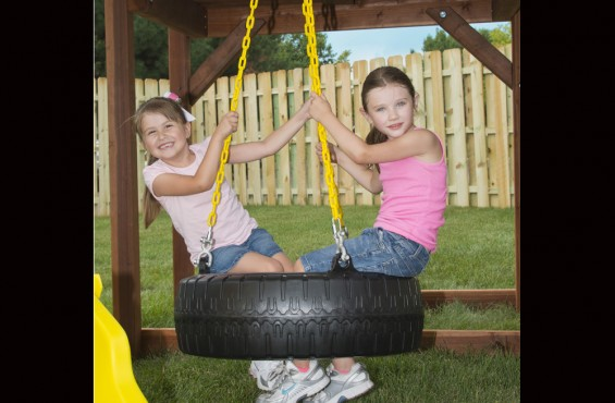 Tire swing features 360 degrees of swiveling motion.