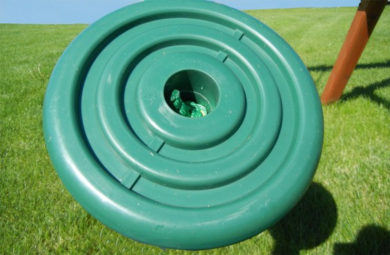 The disc swing has a safe weight threshold of 225 lbs so it can support kids as they swing.